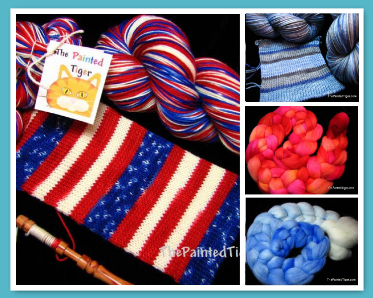 Patriotic Flag Sock Yarn and other hand dyed yarn and fiber