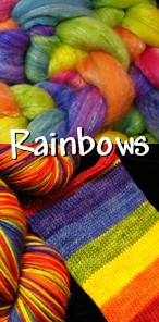 Love all the colors? Enjoy our many styles of rainbows, hand dyed for you on yarn or fiber.
