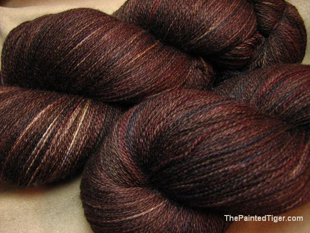 Chestnut Hand Dyed Lace Yarn