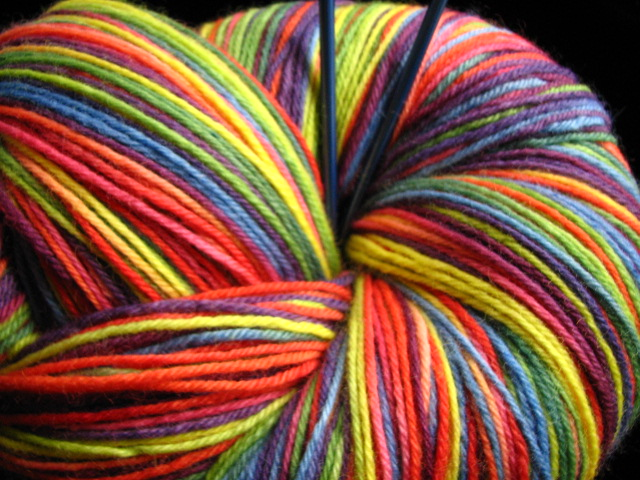 Rainbow BFL Worsted  Hand Dyed by ThePaintedTiger