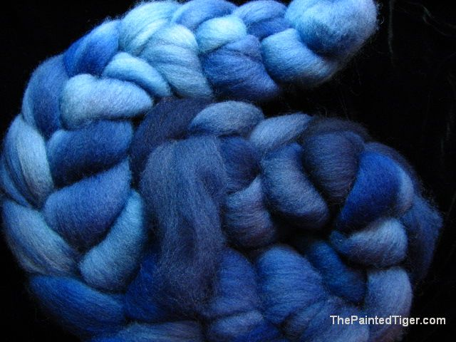Hand Dyed Falkland Wool Spinning Fiber Blue Turquoise