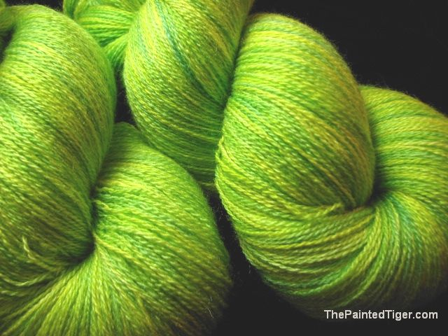 18/2 Hand Dyed Merino Silk Zephyr Lace Yarn Lemon Lime