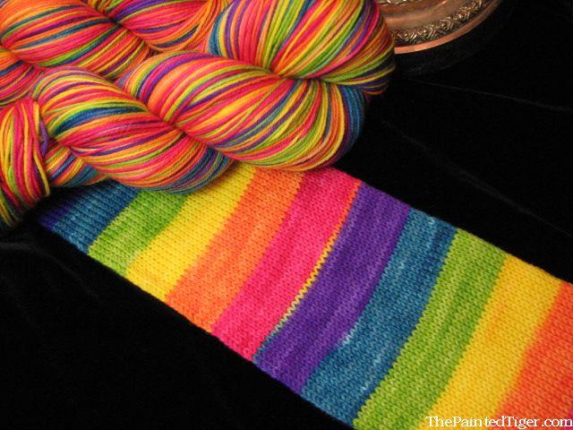 Rainbow Striping Sock Yarn Self Patterning Wide Stripes