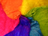 BRIGHT Tropical Rainbow Mawata Silk Hankies