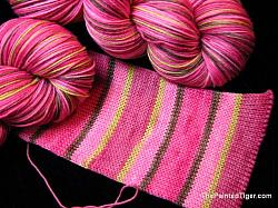 Raspberry Mocha Stripe - Journey Sock Yarn